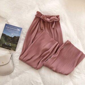 DHgate women's pants & capris korean women wide leg loose high waist solid casual vertical soft pleated pant trousers b287
