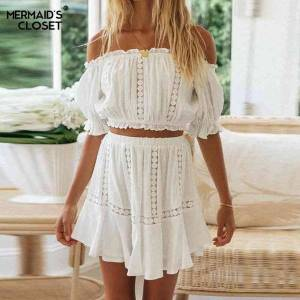 DHgate casual dresses women skirt suits summer white 2 piece set off shouder cropped  short a line female 2021 beach vacation outfits