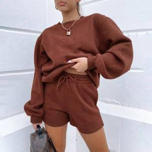 DHgate 2021 new womens hoodies sweatshirt tracksuits 2 oversize sporting shorts sweat set two piece outfit solid color sets 44hx