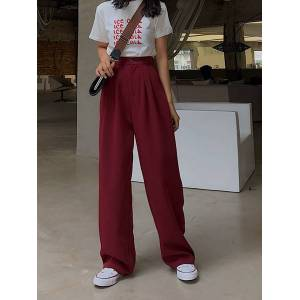 DHgate female fashion simple summer wide waist rubbing leg pants straight spring wild szi2