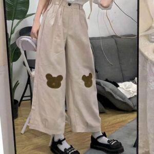 DHgate nice broad-legged bear, girl's new korean summer preparation, wildly loosey style, wild pants, nine stitches, student pants. niz4