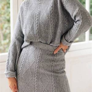 DHgate autumn 2021 new two pieces knitted sweaters with skirt sets women pullovers women's casual suit y9qu