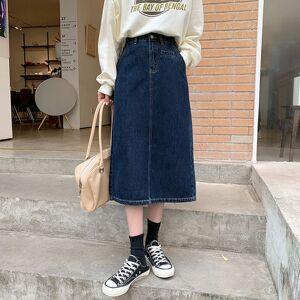 DHgate 2021 new s-xl 2 colors long denim korean style high waist midi skirts women split vintage a line jean skirt (78578 n4p6