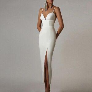 DHgate summer white bodycon bandage womens dress v neck spaghetti strap club celebrity evening runway party maxi dresses