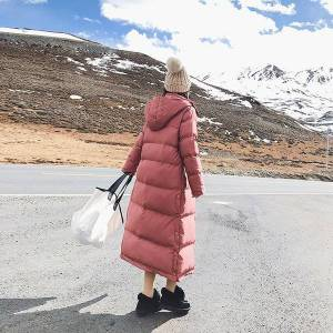 DHgate women new winter thick super long paragraph over the knee jackets vintage hooded loose cotton coat oversized parkas warm outwear