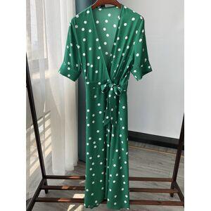 DHgate 2021 new polka dot v-neck wrap midi vestido senhora viscose verde frias praia feminino vestidos longos com faixas vero c7o9