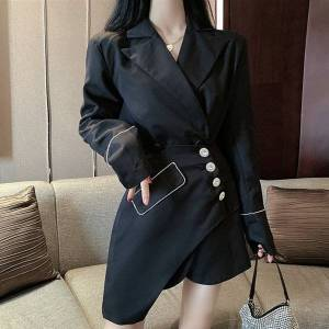 DHgate 2021 new spring casual 2 piece women fashion double-breasted long sleeve lapel blazer coat + diamond button irregular skirt suits set 3bp4