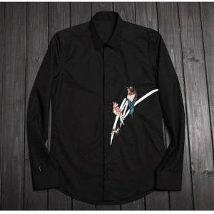 DHgate 2021 new high end brand embroidery cotton mens long sleeve blending shirt male large m-4xl fashion black shirts men solid chemise n09c