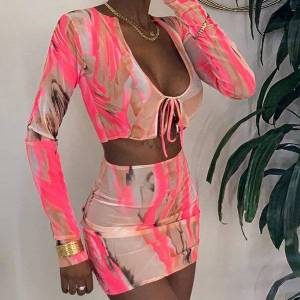 DHgate 2021 autumn winter sheer mesh print long sleeve two piece skirt set women club outfits matching sets c83-bc11