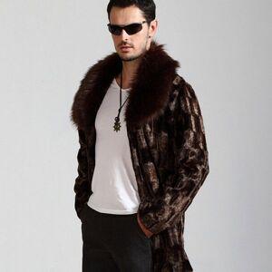 DHgate 2021 new winter men fashion atmosphere faux brown warm cozy casual mink coats long luxury fox fur collar coat pb2n