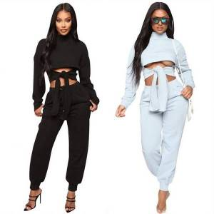 DHgate 2021 new 2 womens outfits matching sets crop  front tie solid long sleeve casual women two piece set clothing mg2z