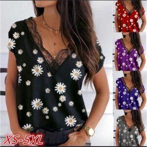DHgate 2021 new mulher camisa superior plus size manga curta renda decote em v estampa floral camisetas vero remeras mujer koszula damska 2rac