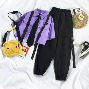 DHgate 2021 summer streetwear sets high line tape load women's pants loose short tie  qu7k