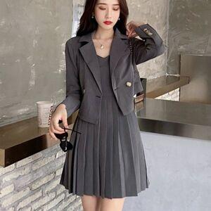 DHgate 2021 new autumn korean streetwear two crop blazer jacket coat + pleated suits women 2 piece set q7xn