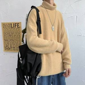 DHgate new 2021 privathinker men's solid color autumn and winter high collar rabbit hair fashion sweater camel a312-my75 p60 n9c9