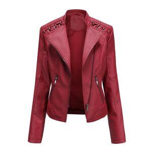 DHgate 2021 new autumn winter women's pu jacket short coat turn-down collar female black faux leather outwear motor biker jackets 4ric