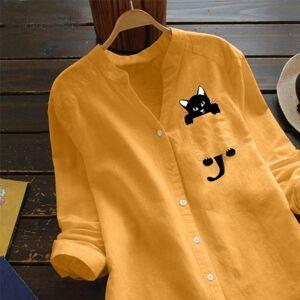 DHgate cat printed blouse women cotton linen casual long sleeve shirt button down  casual loose blouse  blusas mujer de moda