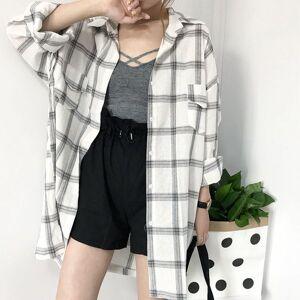 DHgate 2021 new plaid shirts female summer style blouses wild student harajuku long-sleeved mid-length shirt sun protection jacket e9px