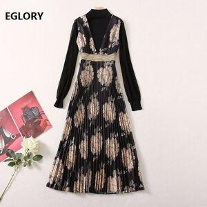 DHgate skirts fashion spring summer women o-neck wild leopard print patchwork long sleeve casual beach club wear