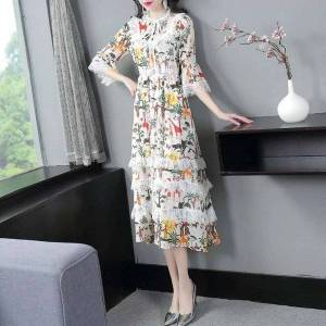 DHgate dresses runway style summer women wild animal flower prints lace patchwork flare sleeve mid-calf