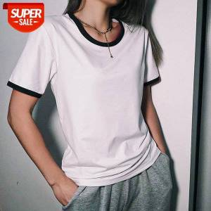 DHgate 2021 classic fashion color trim t-shirt short sleeve round neck wild fitting crop women ladies summer sports daily shirt 3xl #ar8o