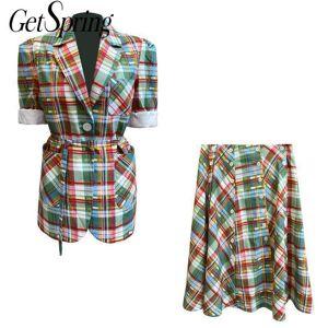 DHgate two piece dress getspring women skirt suits short sleeve blazer and set fashionable rainbow plaid autumn 2021