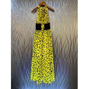 DHgate capris 2021 spring summer women o-neck wild leopard print sleeveless wine red yellow long maxi