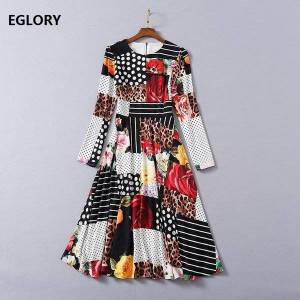 DHgate dresses fashion spring summer women o-neck wild leopard print patchwork long sleeve casual beach club wear