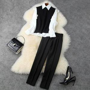 DHgate women's two piece pants european and american women's wear winter style long sleeve shirt ma3 jia3 7 minutes of pants fashion suit