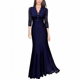 womens dress retro v neck floral 2 3 sleeve wedding party maxi long evening lace dresses
