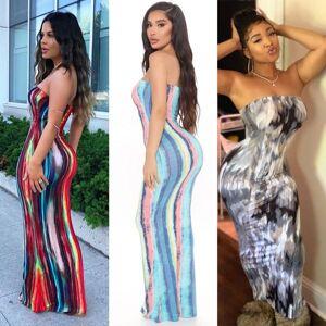 DHgate women summer casual dresses wrap bust long skirt fashion tie dye print off shoulder dress