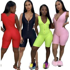 DHgate women's tracksuits wholesale women fitness jumpsuit rompers yoga pants summer sleeveless zipper turtleneck skinny slim female casu
