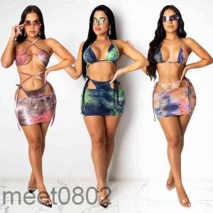 DHgate women's tracksuits 2021 women swimsuit designer v-neck split printed bikini two-piece sets fashion casual sling short skirt outfits