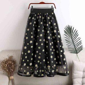 DHgate skirts verano alta cintura de mujer faldar15 elegante dibujo margarita malla falda para mujeres chic faldas tul nat1