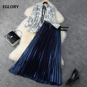 DHgate skirts women's set spring summer 2 piece set woman wild animal print  shirts+pleated long maxi skirt set