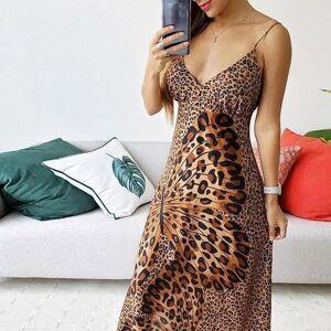 DHgate women dress off shoulder maxi deep v leopard butterfly wrap sling sleeveless nightclub party long dresses sukienki