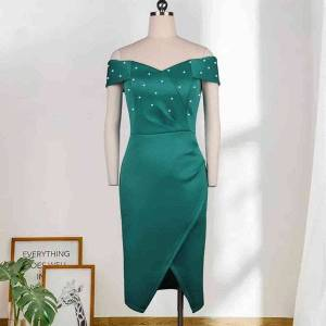DHgate dress women off the shoulder with beads bodycon party night tight out birthday fashion thin for occasion dressed 2021 4ric