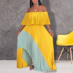 DHgate dresses african for women slash neck pleated maxi summer off shoulder party dress elegant formal evening gown