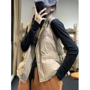 DHgate vests 2021 winter literary korean stand collar sleevels loose casual short down et ma jianv