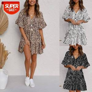DHgate women's dot printing mini dress casual half ruffles sleeve v-neck button down loose fitting wild summer for vacation #i79u