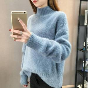 DHgate women's fluffy turtleneck cashmere sweater women oversized sweaters knitted pull femme hiver korean pullover christmas pink1 c2pp