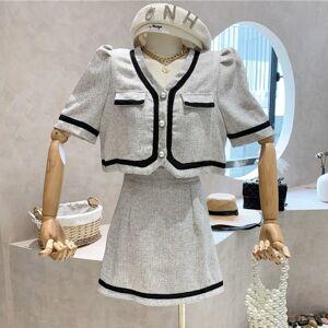 DHgate two piece dress small fragrance set women retro sleeve shirt crop + skirt suits summer short jacket coat 2 sets rn16