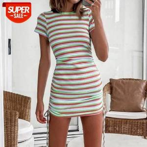 DHgate colorful striped mini dress summer casual female wild short sleeve round neck side pleated drawstring slim fitting #nv8r