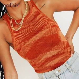 DHgate o neck 2021 knitted crop women casual y2k summer sleeveless basic t shirts blue off shoulder tank