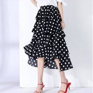DHgate casual dresses summer korean chic high low cakee layered dotted long skirt waisted sweet black/white dot ruffled tiered a-ling cal