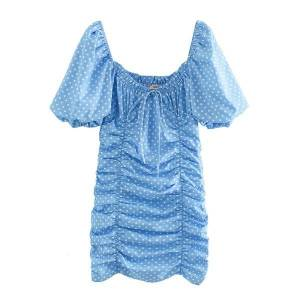 DHgate dresses women blue polka dot print es vintage square neck sleeve pleated casual mini evening party summer boho short