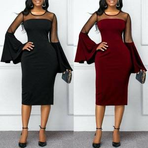 DHgate womens elegant dress ladies long flare see-through sleeve dresses business office evening formal party club s-xl casual