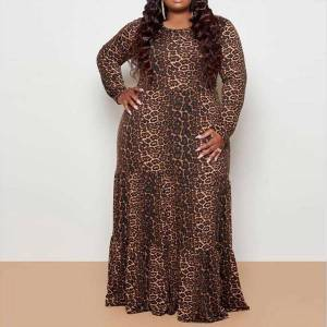 DHgate 4xl 5xl plus size leopard womens dresses print floor length long sleeve high waist vintage for evening party autumn winter