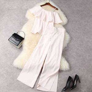 DHgate women's two piece pants summer pink one shoulder ruffle pure color + lace up split wide leg trousers suits 2 s set 21m2311987 ty4i