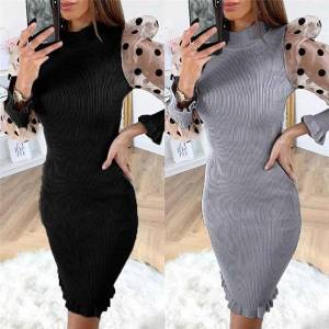 DHgate women's polka dot long puff sleeve knit sweater bodycon evening party mini dress ladies prom gown casual dresses